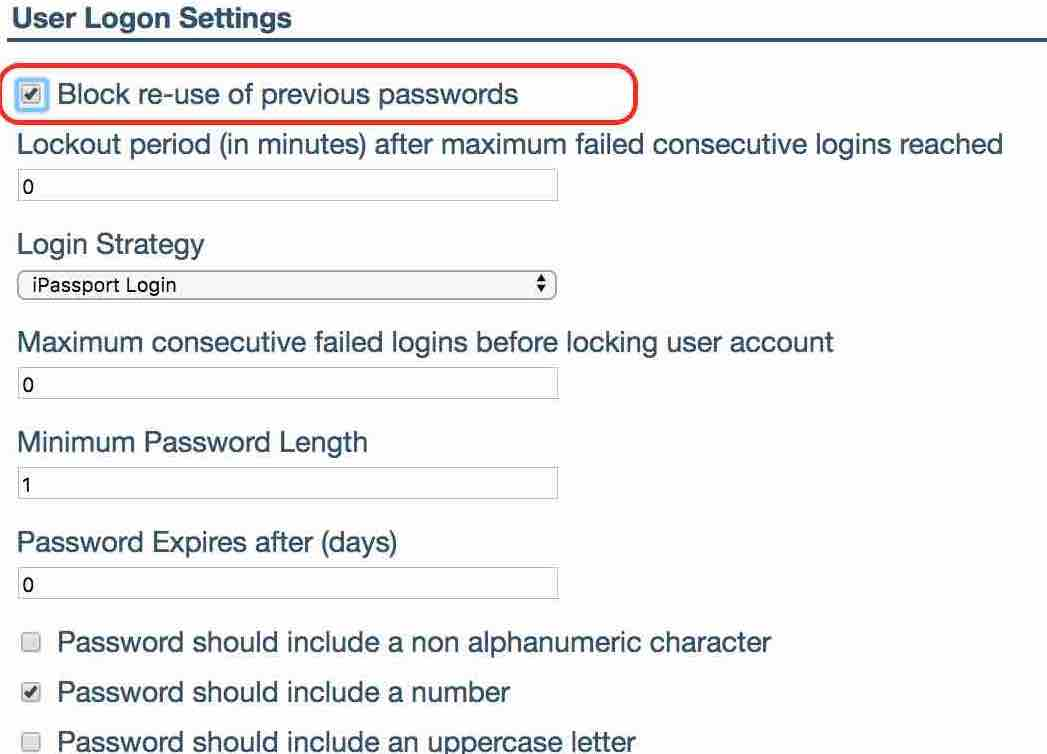 Block re-use of previous passwords is checked