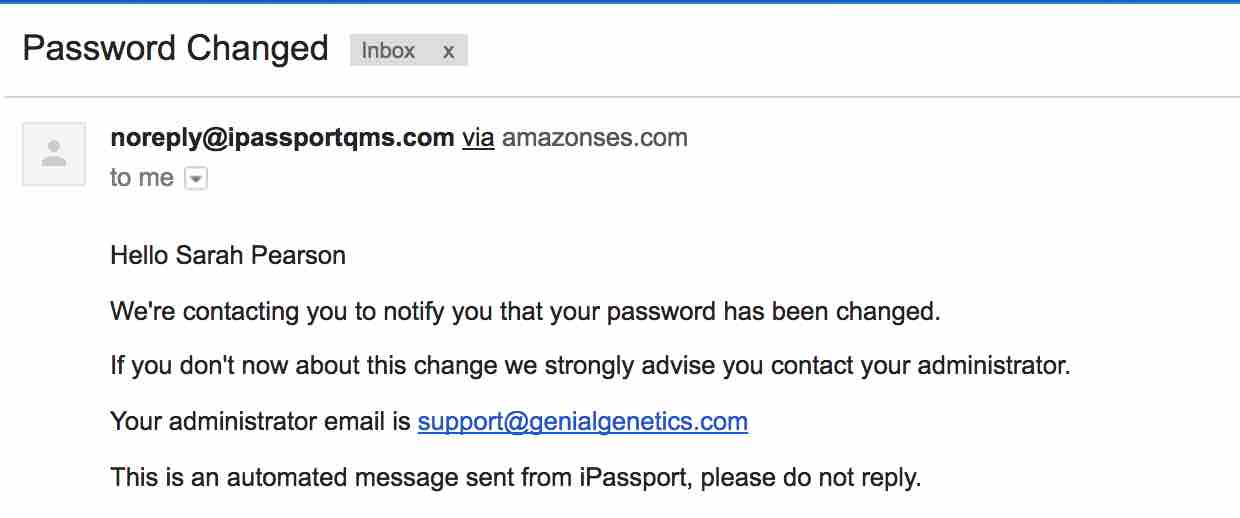 password changed email