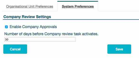 Showing the system preference for enabling company review