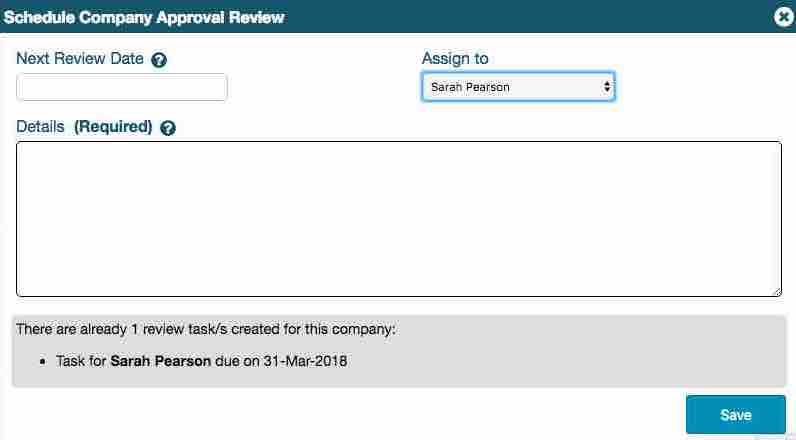 Showing the Schedule Review lightbox and the information on an existing company review task