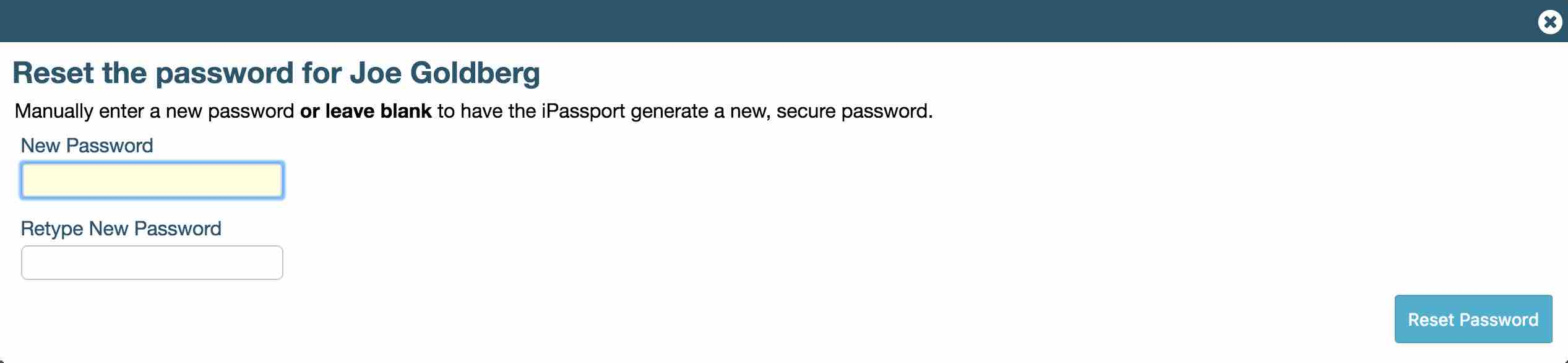 Showing the Reset the password… lightbox